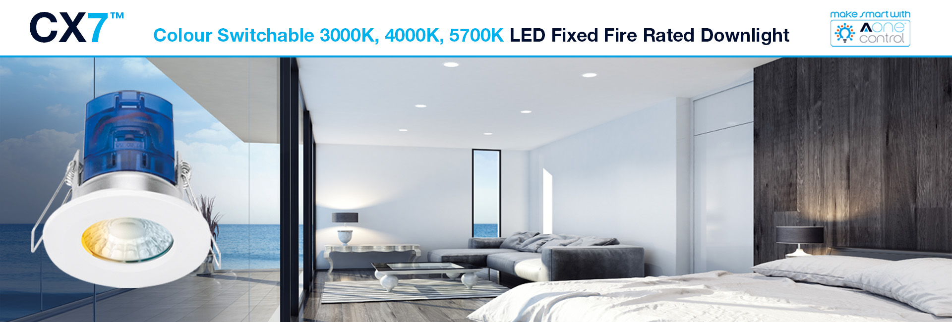 Picture for category Meet the CX7™: 3 Colours, 1 Fire Rated Downlight